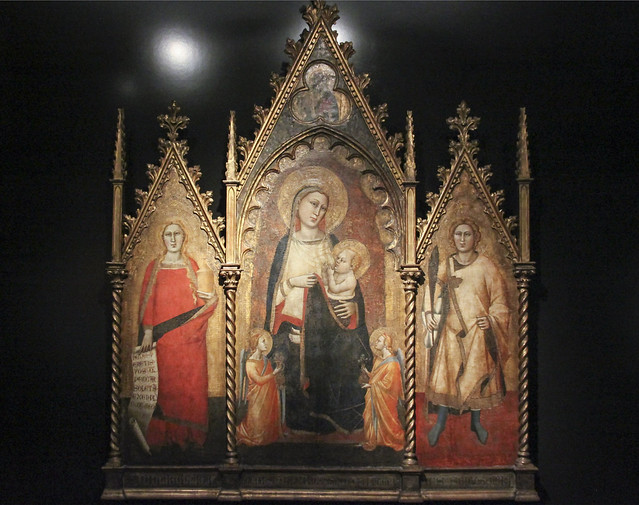 Triptych with the Virgin and Child, and Saints Mary Magdalene and Ansanus, Florence 1350, Andrea Orcagna