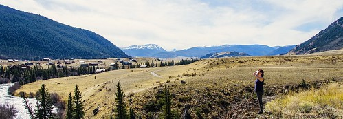 trees cliff woman mountain mountains water rio river grande colorado open looking wide meadow off distance staring gazing spaces