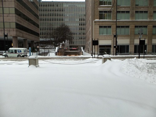 Snowy downtown Cincinnati