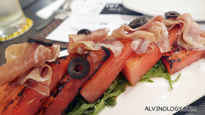 Grilled Watermelon (S$12) - Fresh watermelon grilled till roast-sweet, topped with parma ham and rocket salad