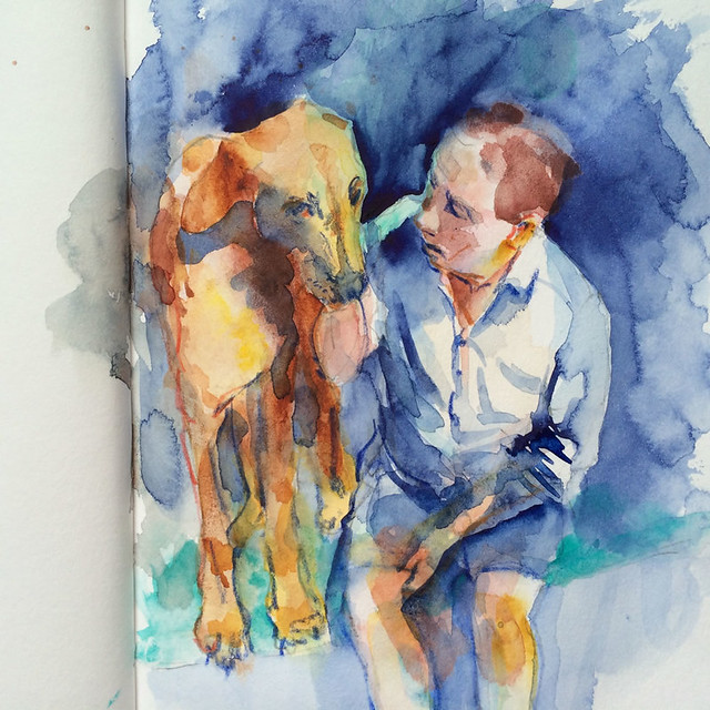 "Watercolour painting by Ako Lamble ""Mike and Henry"" Process5"