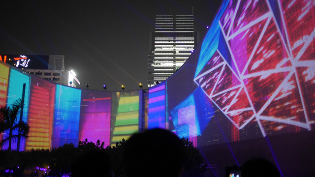 Hong Kong Pulse 3D Light Show at the Cultural Centre and Clock Tower