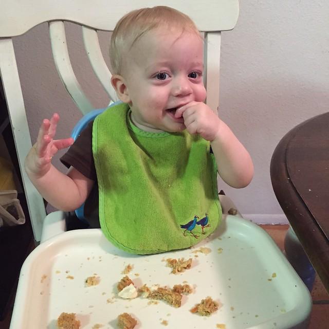 The birthday boy himself, enjoying his cupcake! 8Jan15