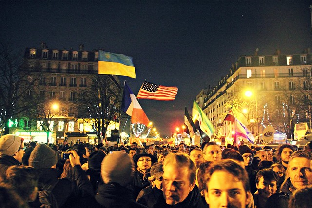 Flags flying at the Paris Rally