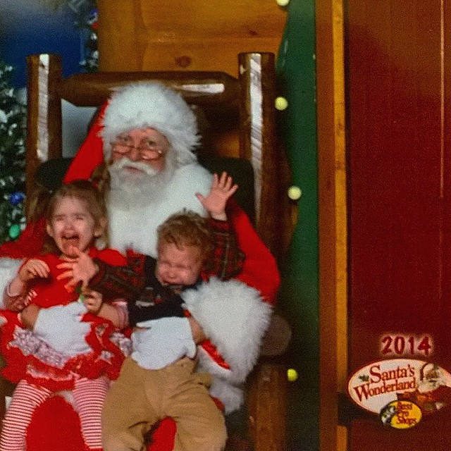 This is my godson's and his #twin sister's #santa pic in burbs of #Detroit ;) #christmas cheer