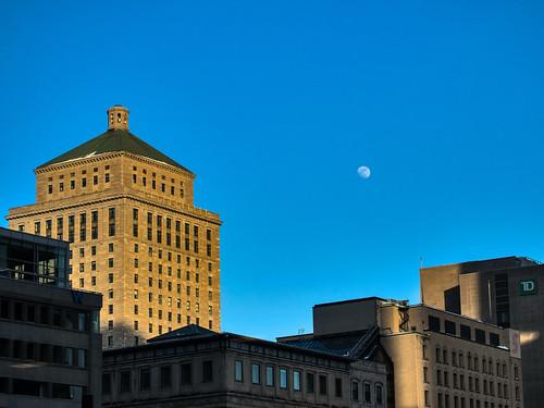 winter sunset moon pen buildings downtown montreal olympus pls5