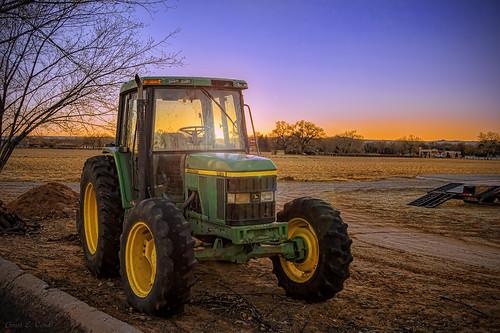 sunset tractor newmexico landscape farm albuquerque lensflare nm johndeere 6410 grantcondit