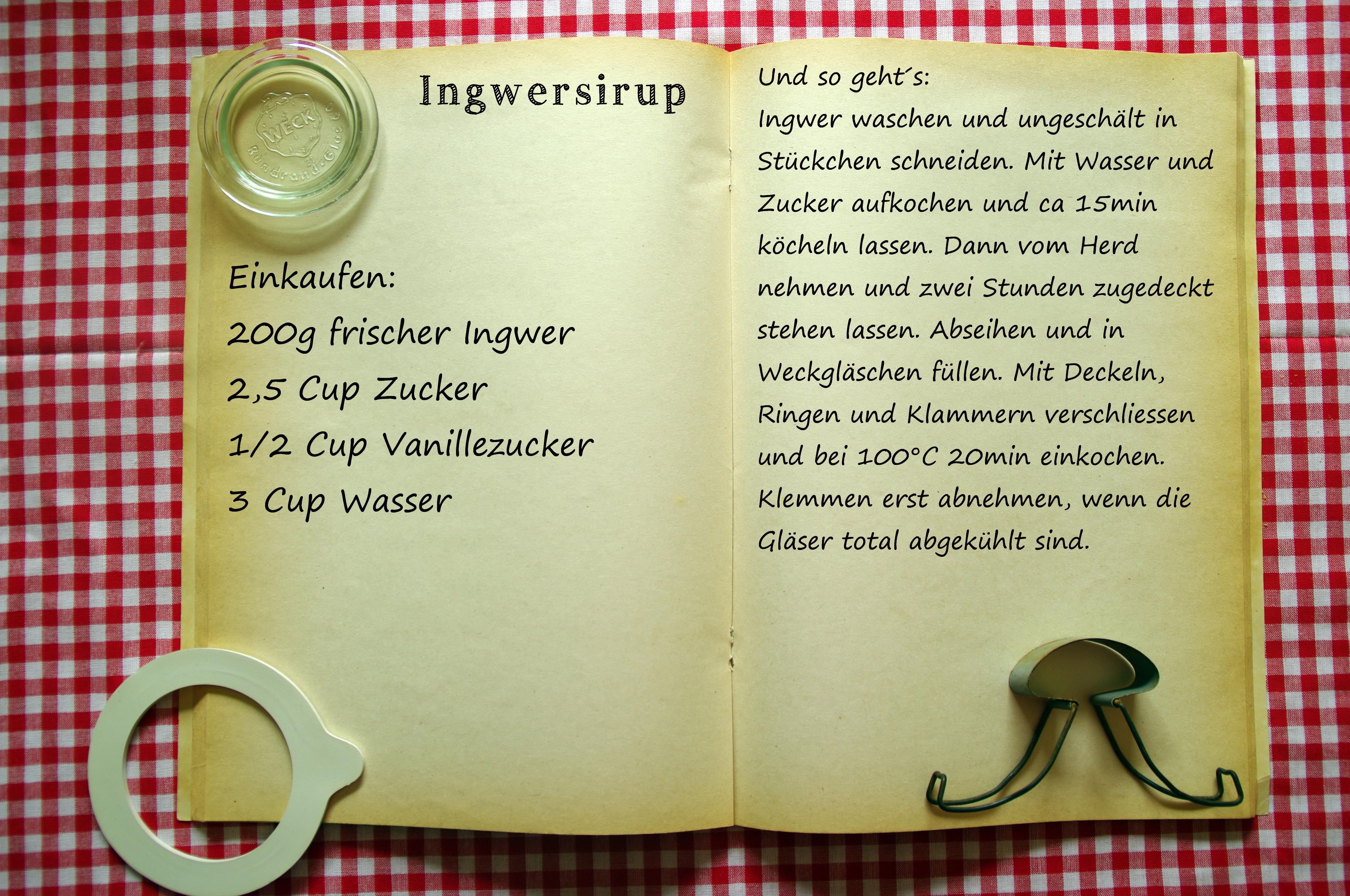 Einkaufszettel Ingwersirup by Glasgeflüster