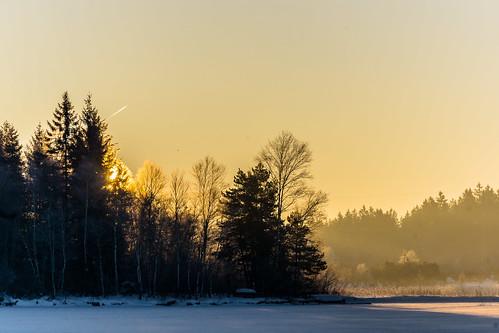 schnee winter mist lake snow sunrise frost sonnenaufgang wetter dunst kirchsee