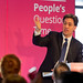 Ed Miliband answering questions in Cardiff