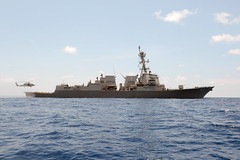 USS Momsen (DDG 92) operates in the South China Sea in late July. (U.S. Navy/MC1 Jay C. Pugh)