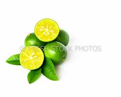 Green lemon and leaves