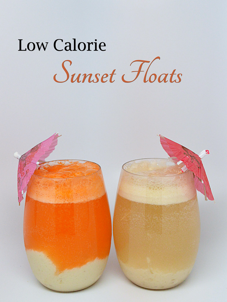 Low Calorie Sunset Floats - Using Yogurt & Fruit instead of Ice Cream and Sunkist TEN & Canada Dry TEN - You have festive drinks without all the calories!
