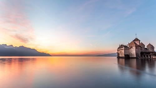 sunset sky lake water swiss chillon chateau