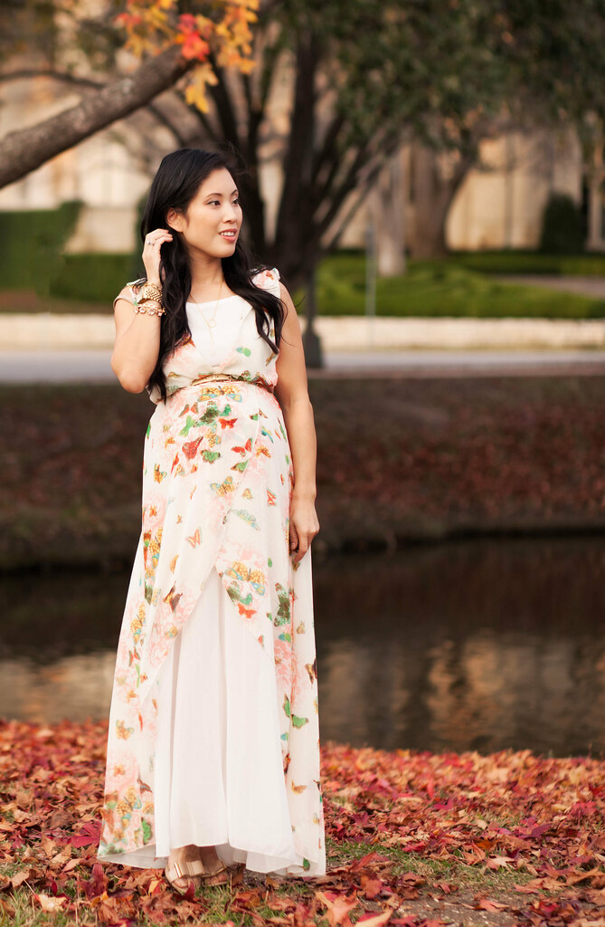 cute & little blog | petite fashion maternity pregnant | butterfly maxi dress outfit