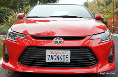 wheel(0.0), automobile(1.0), automotive exterior(1.0), vehicle(1.0), automotive design(1.0), scion(1.0), bumper(1.0), land vehicle(1.0), sports car(1.0),