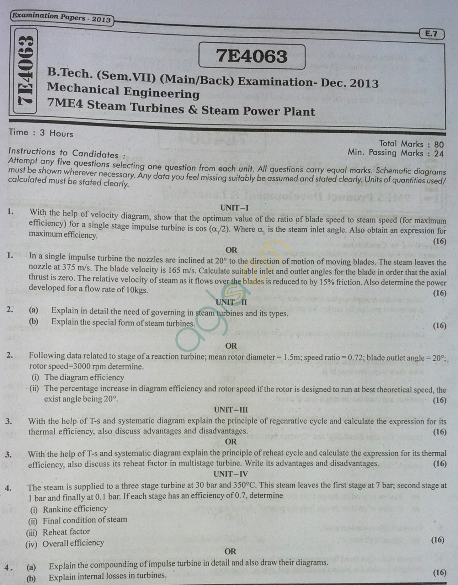 RTU: Question Papers 2013 - 7 Semester - ME - 7E4063