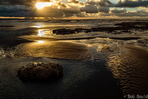 sunset sea sky beach water rock southwales wales clouds unitedkingdom southerndown