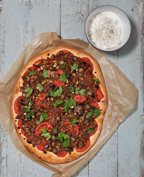 Turkse pizza met aubergine