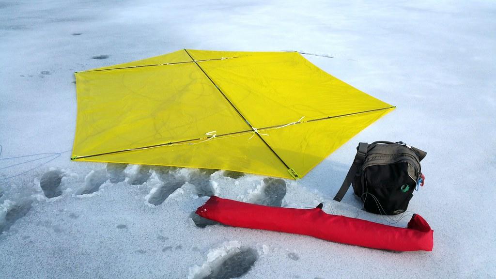 Big Rokkaku kite back on the ground.