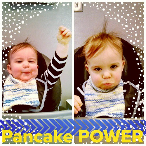 Willem's really into raising his food in exaltation before eating it these days. Praise you, pancake!
