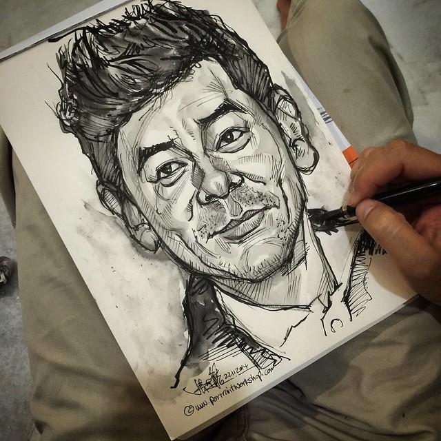 Fountain pen sketch and ink wash of Sean Lau 劉青雲 portrait