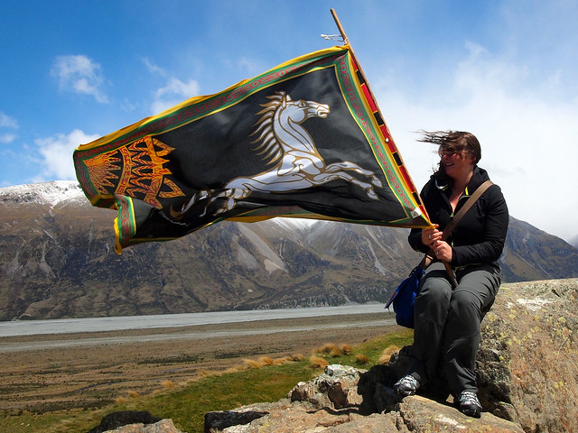 Atop Mount Sunday with a Rohan flag