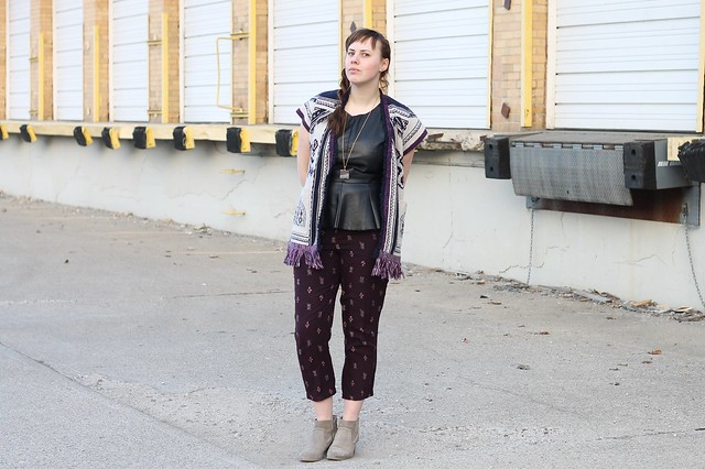 Purple People Eater Outfit: Ikat Madewell pants, black leather peplum top, Anthropologie cardigan, sliced agate necklace, ankle boots, geode ring