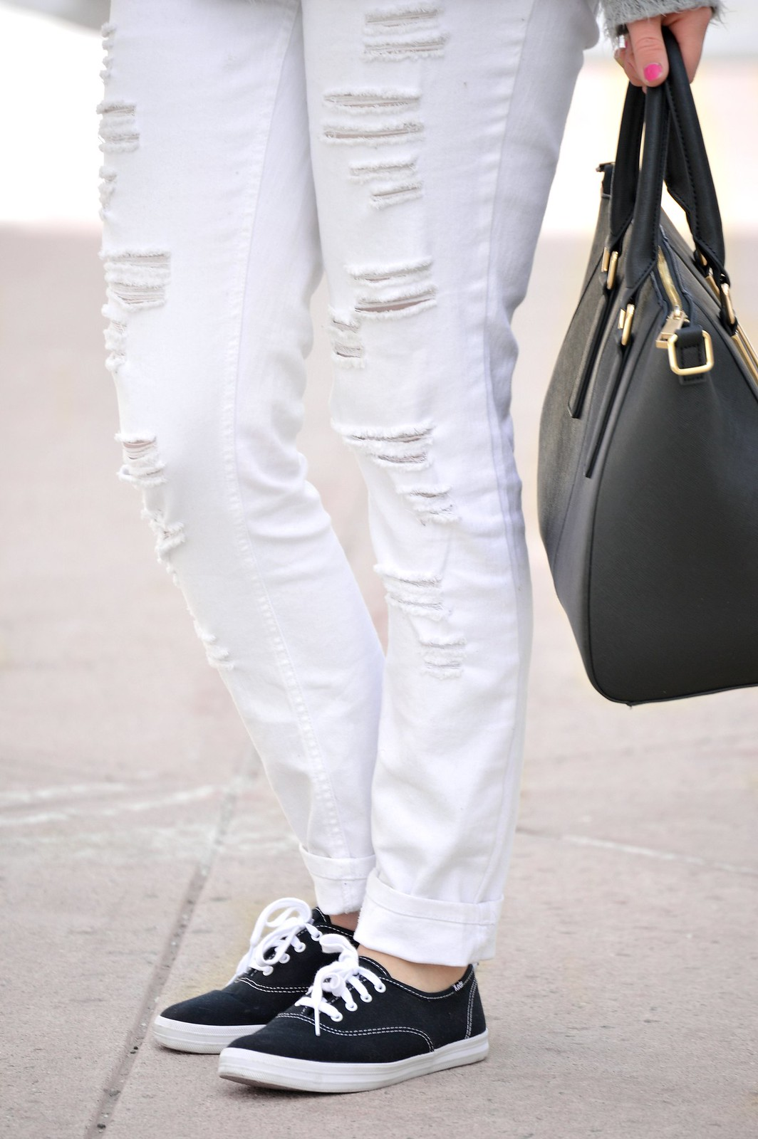 white pants and keds