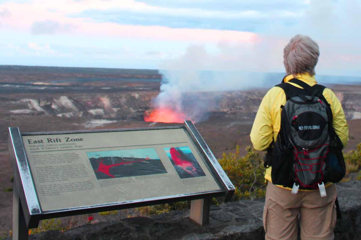 ジャガー博物館からのキラウエア火山火口の眺め