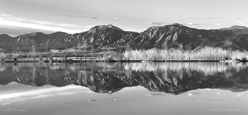 morning bw panorama white lake black reflection nature water monochrome sunrise reflections landscape mirror pond view scenic large panoramas rockymountains frontrange flatiron flatirons bouldercolorado cootlake bouldercounty blackandwhiteart jamesboinsogna blackandwhitephotographyprints