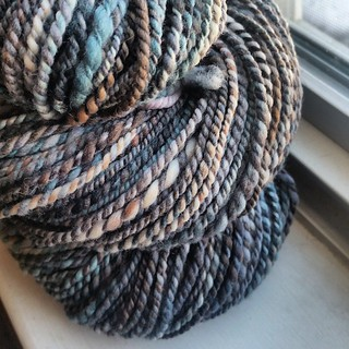 """Man wool,"" 4.1oz of superwash merino spun into 188yds of thick/thin 2ply"