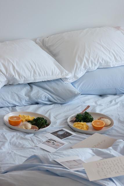 Anniversary breakfast in bed