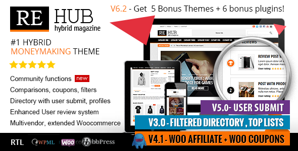 REHub 6.2.9.4 Directory, Shop, Coupon, Affiliate Theme