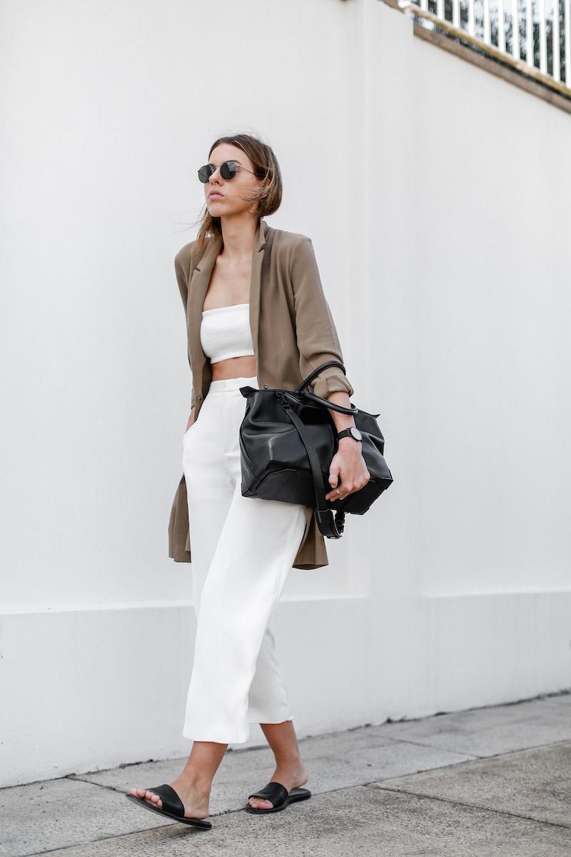 modern legacy fashion blog Australia street style ASOS camel boyfriend blazer Josh Goot white bandeau top culottes slide sandals inspo (6 of 10)