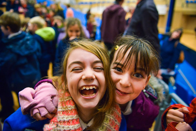Students celebrate after the Saffron Walden Music Ambassadors sharing day © ROH. Photographer Nick Strugnell, 2014.