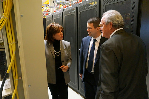 Nancy White with North Central Telephone Cooperative gives RUS Acting Administrator Jasper Schneider (middle) and Rural Development Tennessee State Director Bobby Goode (right) a tour of their broadband facilities in Lafayette, Tennessee.