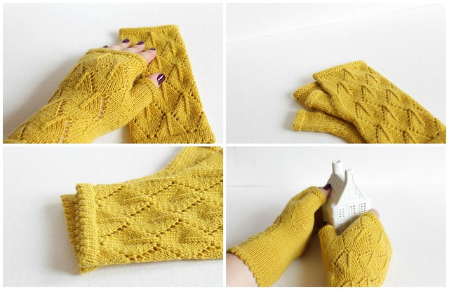 Yellow alpaca mittens
