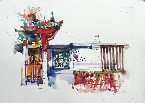 Sharing my messy approach to sketching. Found an interesting view of the famous Thian Hock Kian temple here in Singapore.