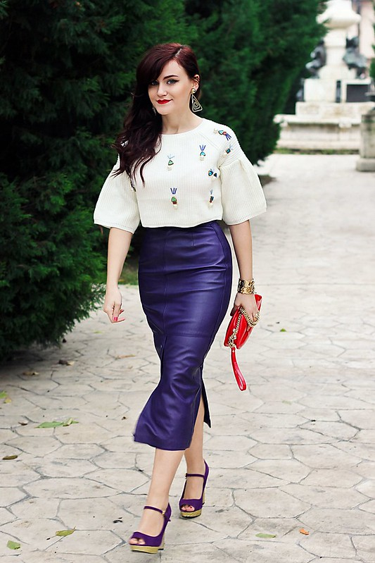 purple leather skirt6,vintage skirt,leather skirt,sheinside sweater