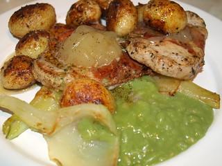 Marinated Pork Chop, Braised Fennel, Mushed Peas, Roast Potato