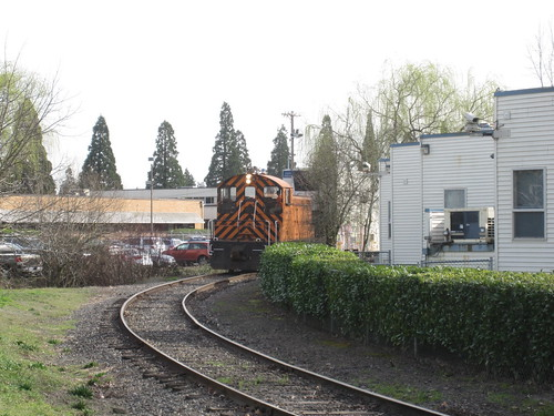 The working Eng! pushes a reefer into a siding in Portland Traction's industrial park