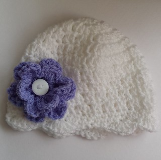 Newborn flower hat with button flower