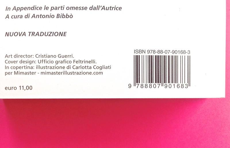 Gli anni, di Virginia Woolf. Feltrinelli 2015. Art dir.: Cristiano Guerri; alla cop.: ill. col. di Carlotta Cogliati. Quarta di copertina (part.), 3