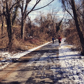 Shady parts of the Capital Crescent Trail are icy #bikedc