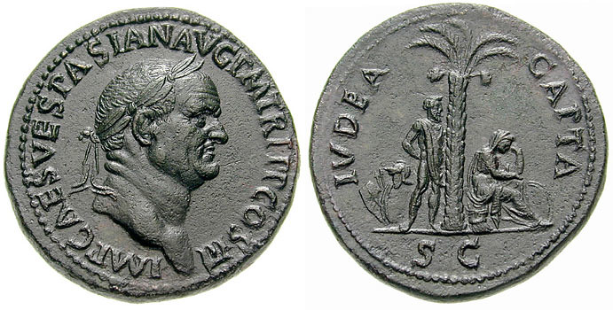 Vespasian sestertius, struck in 71 to celebrate the victory in the first Jewish-Roman war