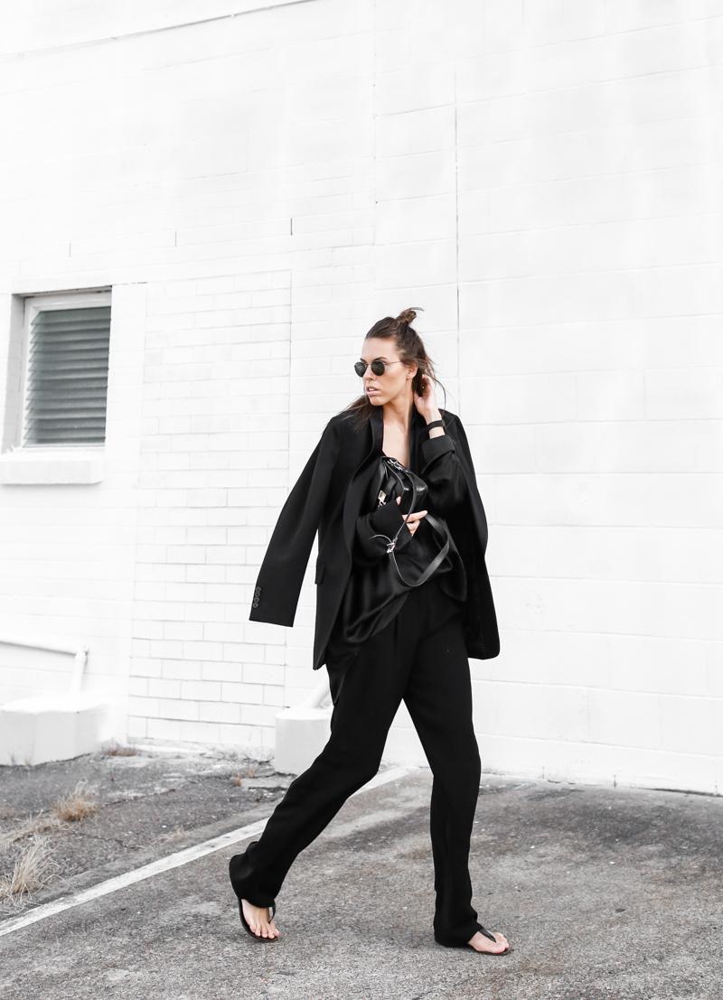 MODERN LEGACY fashion blog all black street style french effect Max Mara pants Dries van Noten blazer PS11 half up hair man bun (1 of 1)