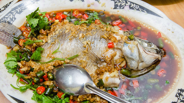 The fat Tilapia Fish at Restoran Lan Je Steamed Fish