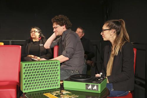 Abend der Nominierten 2015 im Landestheater Niederösterreich (Theaterwerkstatt) in St. Pölten (Sudabeh Mortezai, Oliver Neumann, Andreas Prochska, DJ Tanja Petrovsky)