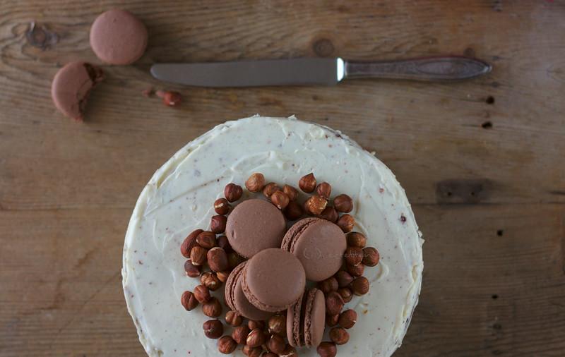 hazelnut cake with macaron topping